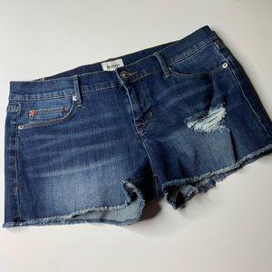 Hudson distressed raw fray hem denim shorts sz 29